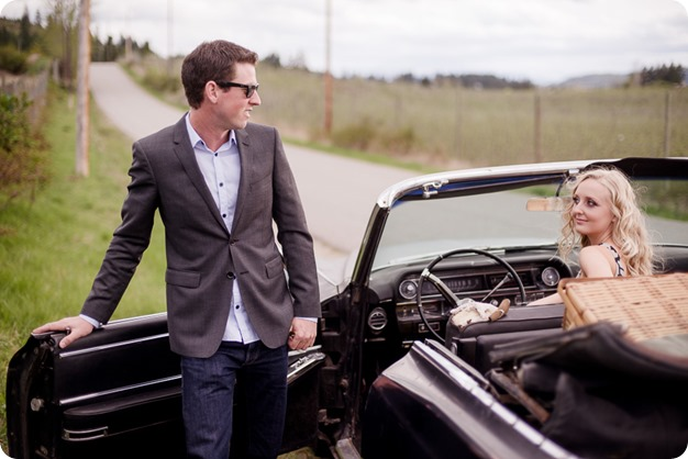 convertible-Cadillac_engagement-portraits_travel-cherry-orchard_Okanagan_11_by-Kevin-Trowbridge