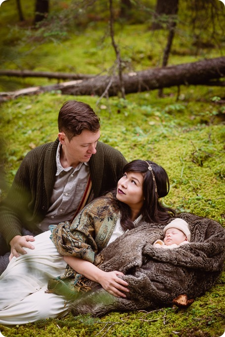 Banff-portraits_moss-forest_Fairmont-bohemian-family-session-newborn_56_by-Kevin-Trowbridge