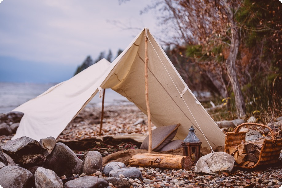 Okanagan-engagement-session_camping-lake-portraits_dog-tent-coffee-campfire_01_by-Kevin-Trowbridge