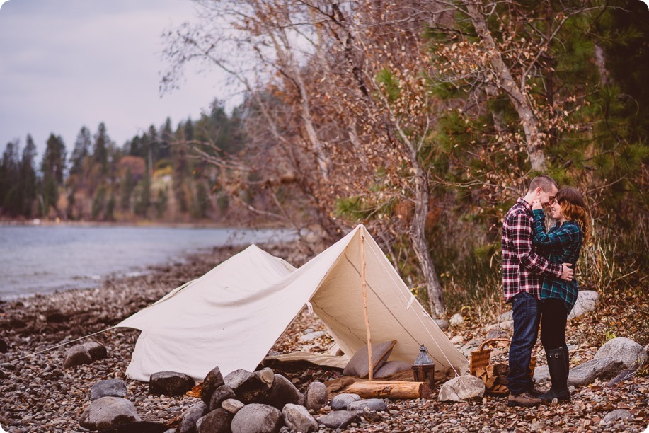 Okanagan-engagement-session_camping-lake-portraits_dog-tent-coffee-campfire_03_by-Kevin-Trowbridge