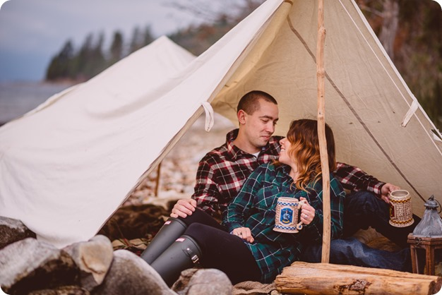 Okanagan-engagement-session_camping-lake-portraits_dog-tent-coffee-campfire_07_by-Kevin-Trowbridge