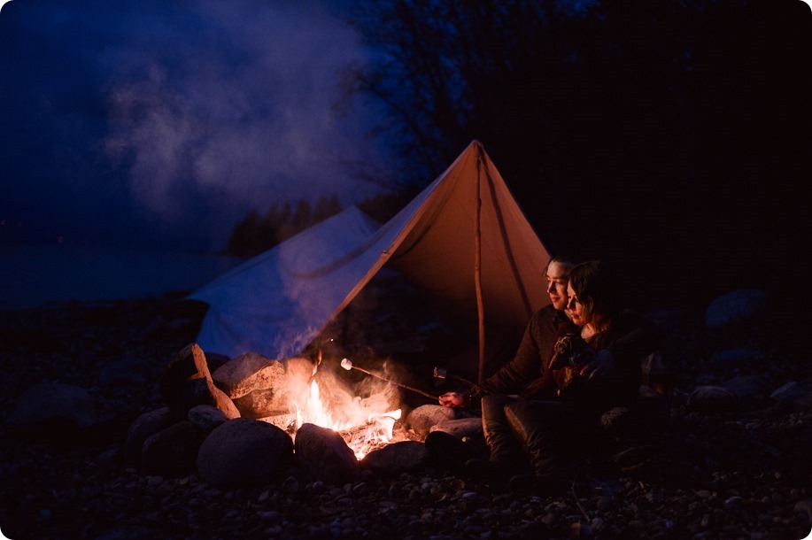 Okanagan-engagement-session_camping-lake-portraits_dog-tent-coffee-campfire_120_by-Kevin-Trowbridge
