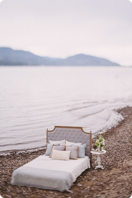 Kelowna-engagement-session_bed-on-the-beach_pillow-fight_lake-portraits_vintage-origami_02_by-Kevin-Trowbridge