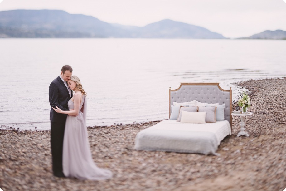 Kelowna-engagement-session_bed-on-the-beach_pillow-fight_lake-portraits_vintage-origami_03_by-Kevin-Trowbridge