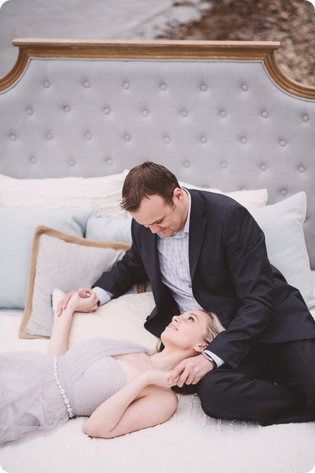 Kelowna-engagement-session_bed-on-the-beach_pillow-fight_lake-portraits_vintage-origami_13_by-Kevin-Trowbridge