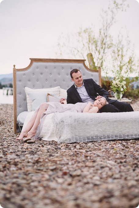 Kelowna-engagement-session_bed-on-the-beach_pillow-fight_lake-portraits_vintage-origami_14_by-Kevin-Trowbridge