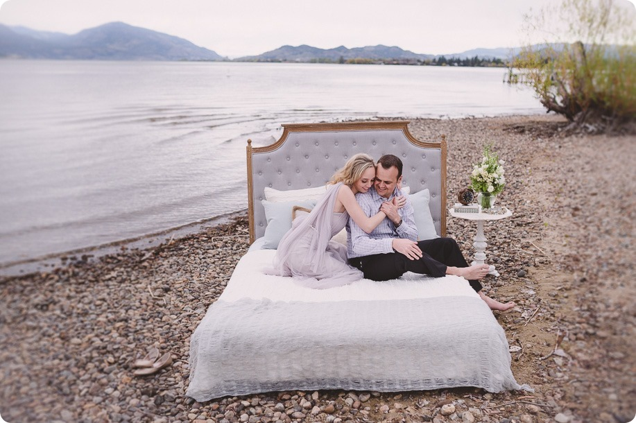 Kelowna-engagement-session_bed-on-the-beach_pillow-fight_lake-portraits_vintage-origami_17_by-Kevin-Trowbridge