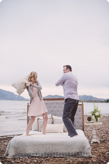 Kelowna-engagement-session_bed-on-the-beach_pillow-fight_lake-portraits_vintage-origami_51_by-Kevin-Trowbridge