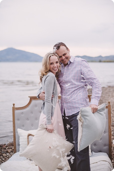Kelowna-engagement-session_bed-on-the-beach_pillow-fight_lake-portraits_vintage-origami_52_by-Kevin-Trowbridge