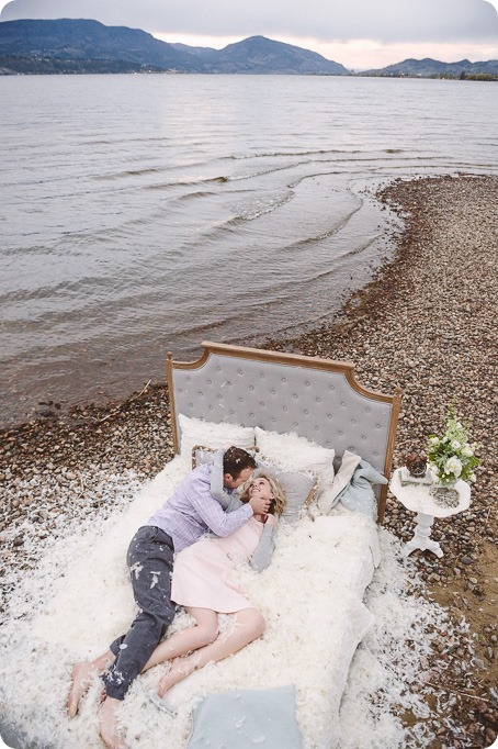 Kelowna-engagement-session_bed-on-the-beach_pillow-fight_lake-portraits_vintage-origami_67_by-Kevin-Trowbridge