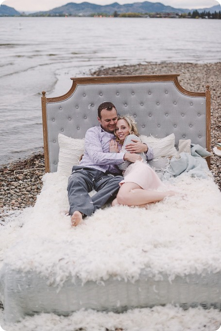 Kelowna-engagement-session_bed-on-the-beach_pillow-fight_lake-portraits_vintage-origami_73_by-Kevin-Trowbridge