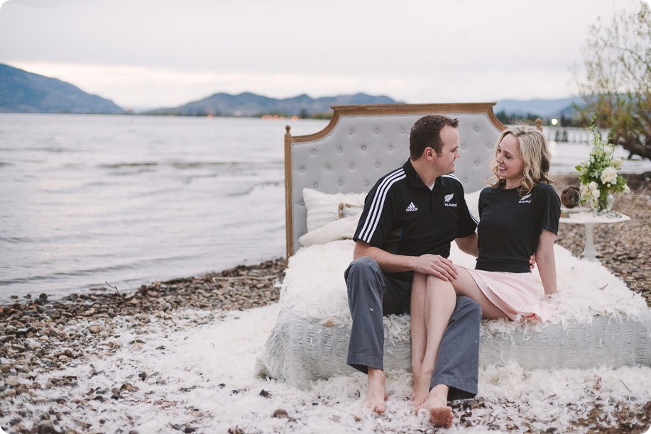 Kelowna-engagement-session_bed-on-the-beach_pillow-fight_lake-portraits_vintage-origami_76_by-Kevin-Trowbridge