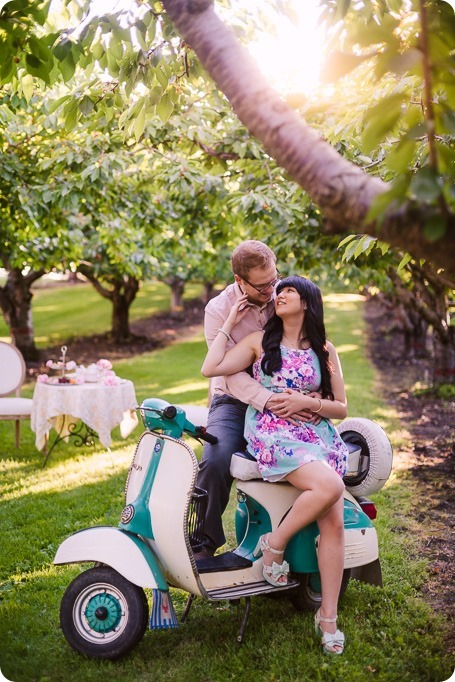 Vespa-engagement-phtoshoot-tea-party_orchard-Kelowna_11_by-Kevin-Trowbridge-photography_Kelowna