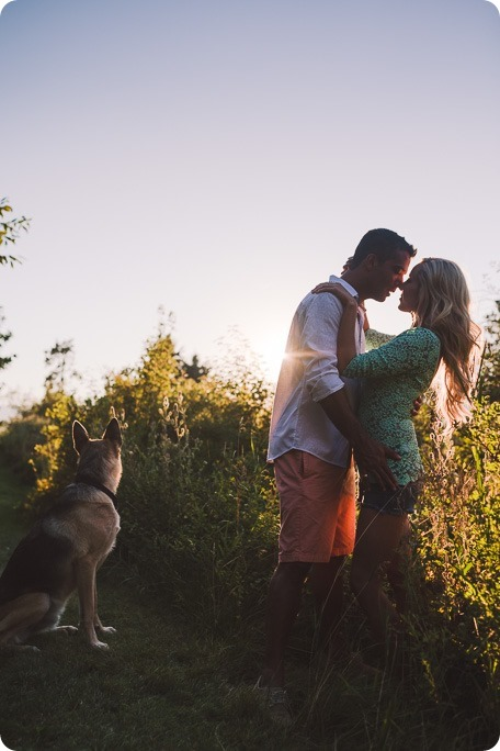 Kelowna-wedding-photographer_Cherry-orchard-engagement_dog-sunset-champagne_195529_by-Kevin-Trowbridge