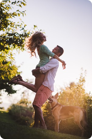 Kelowna-wedding-photographer_Cherry-orchard-engagement_dog-sunset-champagne_195740_by-Kevin-Trowbridge